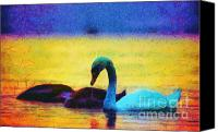 Dewy Painting Canvas Prints - The swan family Canvas Print by Odon Czintos