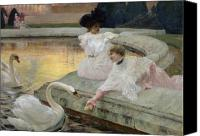 Manor Painting Canvas Prints - The Swans Canvas Print by Joseph Marius Avy