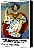 United States Mixed Media Canvas Prints - The Sword Is Drawn The Navy Upholds It Canvas Print by War Is Hell Store