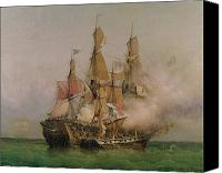 Gunfire Canvas Prints - The Taking of the Kent Canvas Print by Ambroise Louis Garneray