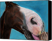 Abstract Equine Canvas Prints - The Tasty Post Canvas Print by Frances Marino