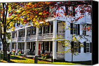 Rocking Chairs Photo Canvas Prints - The Tavern at Grafton - Grafton Vermont Canvas Print by Thomas Schoeller
