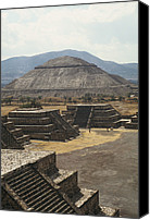 Ruins Canvas Prints - The Temple Of The Sun At Teotihuacan Canvas Print by Martin Gray