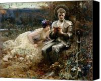 1894 (oil On Canvas) By Arthur Hacker (1858-1919) Canvas Prints - The Temptation of Sir Percival Canvas Print by Arthur Hacker