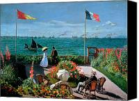 Monet Painting Canvas Prints - The Terrace at Sainte Adresse Canvas Print by Claude Monet