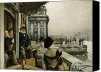 High Society Canvas Prints - The Terrace of the Trafalgar Tavern Greenwich Canvas Print by James Jacques Joseph Tissot