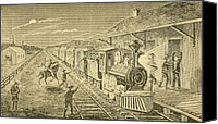 Jesse James Canvas Prints - The Texas Express Train Being Robbed Canvas Print by Everett