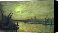 Moonlit Painting Canvas Prints - The Thames by Moonlight with Southwark Bridge Canvas Print by John Atkinson Grimshaw
