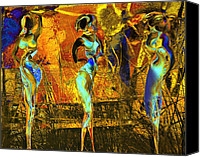 Yellow Mixed Media Canvas Prints - The three graces Canvas Print by Anne Weirich