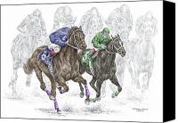 Horse Drawings Canvas Prints - The Thunder of Hooves - Horse Racing Print Color Canvas Print by Kelli Swan