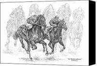 Horse Drawings Canvas Prints - The Thunder of Hooves - Horse Racing Print Canvas Print by Kelli Swan