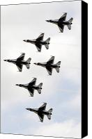 Demonstration Canvas Prints - The Thunderbirds Form A 6-ship Delta Canvas Print by Stocktrek Images