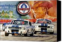 Watercolor Canvas Prints - The Thundering Blue Stripe GT-350 Canvas Print by David Lloyd Glover