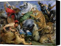 Fighting Canvas Prints - The Tiger Hunt Canvas Print by Rubens