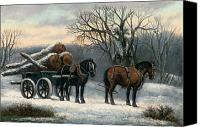 Fire Wood Canvas Prints - The Timber Wagon in Winter Canvas Print by Anonymous