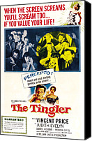 1959 Movies Canvas Prints - The Tingler, Bottom Vincent Price Canvas Print by Everett