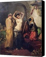 Orientalist Canvas Prints - The Toilet in the Seraglio Canvas Print by Theodore Chasseriau
