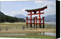 Miyajima Canvas Prints - The Torii at low tide at Itsukushima Shrine Miyajima Japan  Canvas Print by Andy Smy
