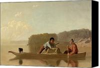 Pioneers Painting Canvas Prints - The Trappers Return Canvas Print by George Caleb Bingham