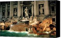 Ancient Photo Canvas Prints - The Trevi Fountain Canvas Print by Traveler Scout