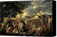 Putti Painting Canvas Prints - The Triumph of Flora Canvas Print by Nicolas Poussin