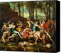 Greece Painting Canvas Prints - The Triumph of Pan Canvas Print by Nicolas Poussin