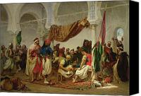 Orientalist Canvas Prints - The Turkish Cafe Canvas Print by Charles Marie Lhuillier