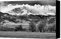 Mountains Canvas Prints - The Twin Peaks - Mt Meeker and Longs Peak Hang-in BW Canvas Print by James Bo Insogna