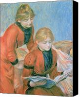Reading Pastels Canvas Prints - The Two Sisters Canvas Print by Pierre Auguste Renoir