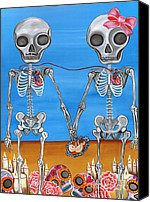 Teen Painting Canvas Prints - The Two Skeletons Canvas Print by Jaz Higgins