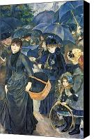 Raining Canvas Prints - The Umbrellas Canvas Print by Pierre Auguste Renoir