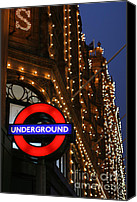 Shopping Canvas Prints - The Underground and Harrods at Night Canvas Print by Heidi Hermes