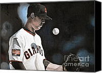 San Francisco Giants Painting Canvas Prints - The Undersized Giant Canvas Print by Jason Yoder