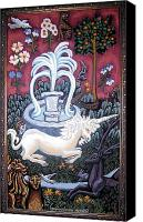Fauna Painting Canvas Prints - The Unicorn and Garden Canvas Print by Genevieve Esson