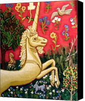 Greeting Cards Tapestries - Textiles Canvas Prints - The Unicorn Canvas Print by Genevieve Esson