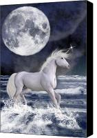 Shore Mixed Media Canvas Prints - The Unicorn Under The Moon Canvas Print by Emma Alvarez