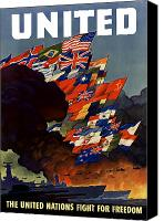 Propaganda Canvas Prints - The United Nations Fight For Freedom Canvas Print by War Is Hell Store