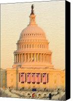 D.c. Digital Art Canvas Prints - The United States Capitol Canvas Print by Julie Niemela