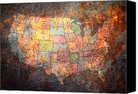 States Map Canvas Prints - The United States Canvas Print by Michael Tompsett