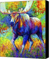 Animal Canvas Prints - The Urge To Merge - Bull Moose Canvas Print by Marion Rose