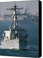 Frigate Canvas Prints - The U.s. Guided Missile Destroyer Uss Canvas Print by Stocktrek Images