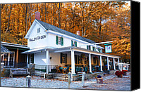 Green Canvas Prints - The Valley Green Inn in Autumn Canvas Print by Bill Cannon
