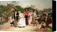 Weddings Canvas Prints - The Village Wedding Canvas Print by Sir Samuel Luke Fildes