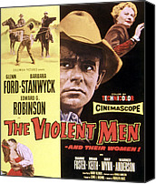 1955 Movies Canvas Prints - The Violent Men, Glenn Ford, Barbara Canvas Print by Everett