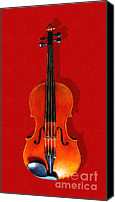Orchestra Digital Art Canvas Prints - The Violin . Red Version . Painterly Canvas Print by Wingsdomain Art and Photography