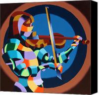 Cubism  Canvas Prints - The Violinist Canvas Print by Mark Webster