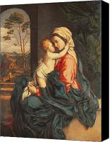 Virgin Mary Painting Canvas Prints - The Virgin and Child Embracing Canvas Print by Giovanni Battista Salvi