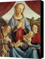 Egg Tempera Painting Canvas Prints - The Virgin and Child with Two Angels Canvas Print by Andrea del Verrocchio