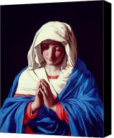 Virgin Mary Painting Canvas Prints - The Virgin in Prayer Canvas Print by Il Sassoferrato