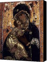 Medieval Canvas Prints - The Virgin Of Vladimir Canvas Print by Granger
